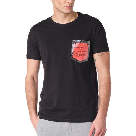 8125 Contrast Pocket Tee // Black + Red (S)