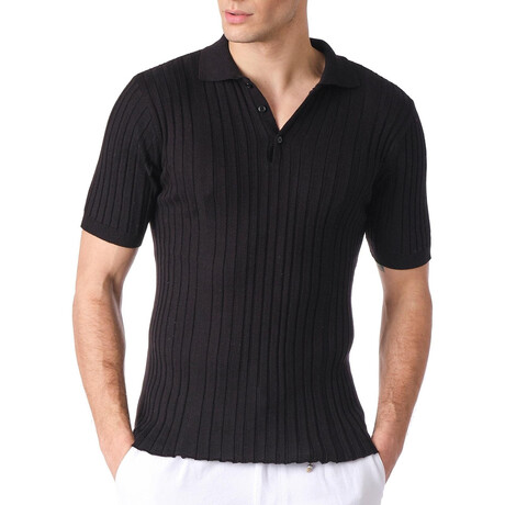 6225 Knitted Polo Shirt // Black (S)