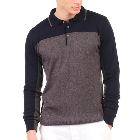 6316 Knitted Polo Shirt // Anthracite + Navy (S)