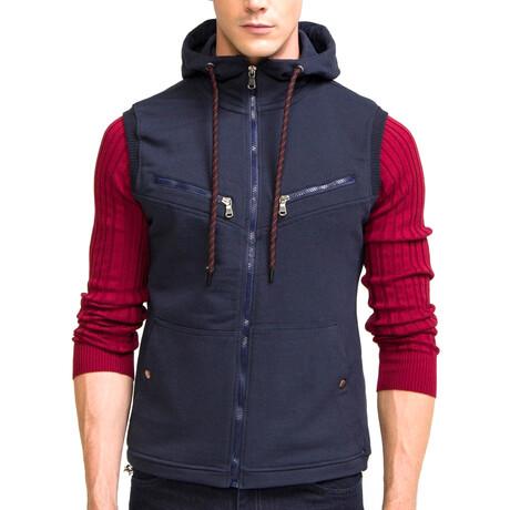6195 Hooded Zippered Vest // Navy (S)