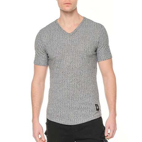 6304 V-Neck Ribbed Muscle Tee // Gray (S)