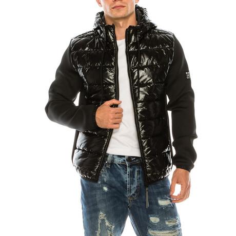71174 Mixed Media Hooded Jacket // Black (S)