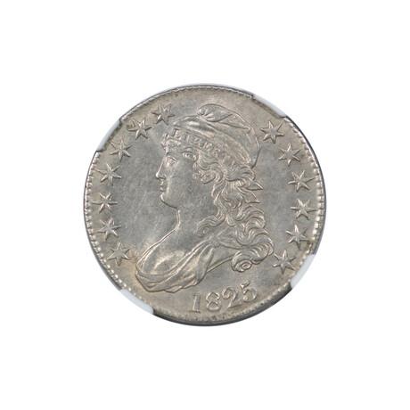 1825 Capped Bust Half Dollar // NGC Certified AU58 // Wood Presentation Box