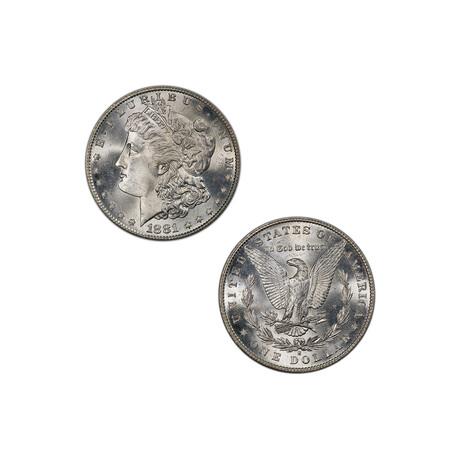 1881-S Morgan Silver Dollar // NGC Certified MS65 // Wood Presentation Box