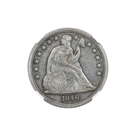 1846 Seated Liberty Dollar // NGC Certified AU53 // Wood Presentation Box