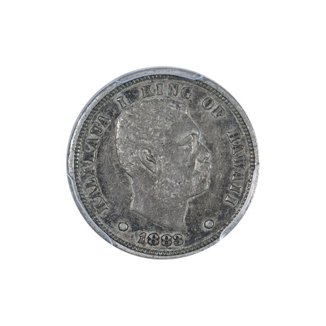 1883 Kingdom of Hawaii Silver Dime // PCGS Certified XF45 // Wood Presentation Box