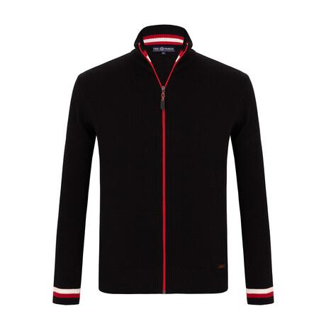 Randy Zip-Up Sweater // Black + Red (S)