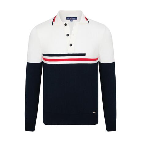 Grady 3-Button Collared Sweater // Navy + Ecru (S)