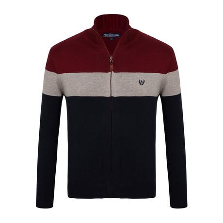 Carson Colorblock Zip-Up Sweater // Navy + Bordeaux (S)