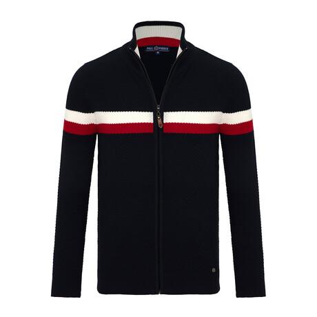Paxton Striped Zip-Up Sweater // Navy (S)