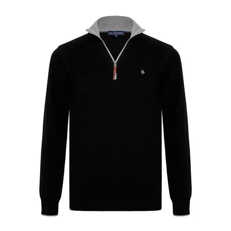 Jameson Half-Zip Sweater // Black + Gray (S)