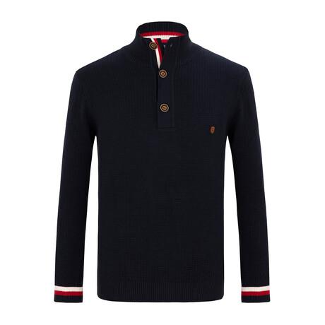 Marcello 3-Botton Collared Sweater // Navy (S)