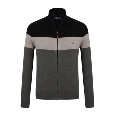 Gage Colorblock Zip-Up Sweater // Anthracite + Black (S)