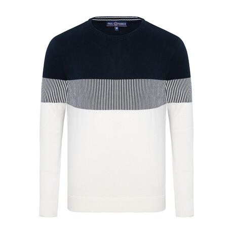 Damian Colorblock Sweater // Navy + Ecru (S)