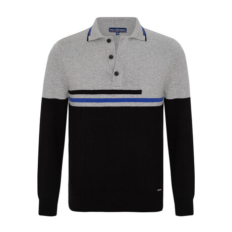 Remi 3-Button Collared Sweater // Black + Gray (S)