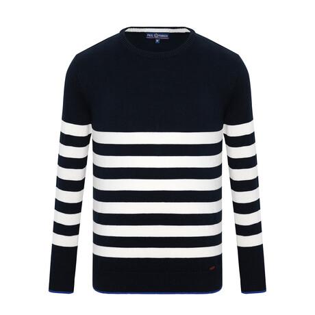 Brad Striped Sweater // Navy + Ecru (S)