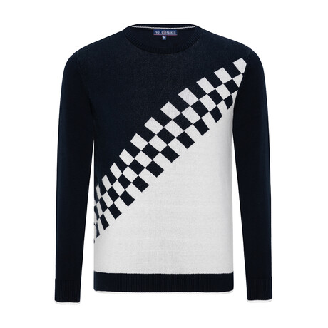 Andrew Checkerboard Sweater // Navy + Ecru (S)