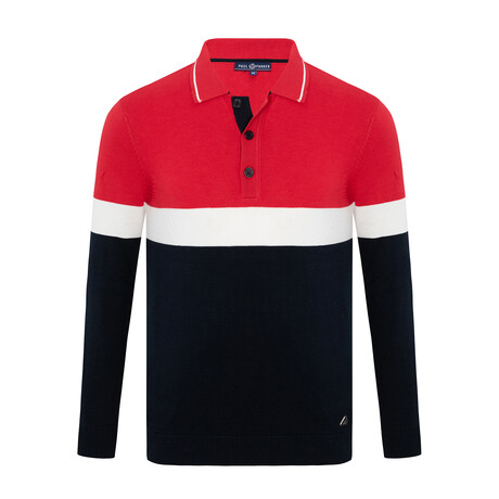 Walker 3-Botton Collared Sweater // Navy + Ecru + Red (S)