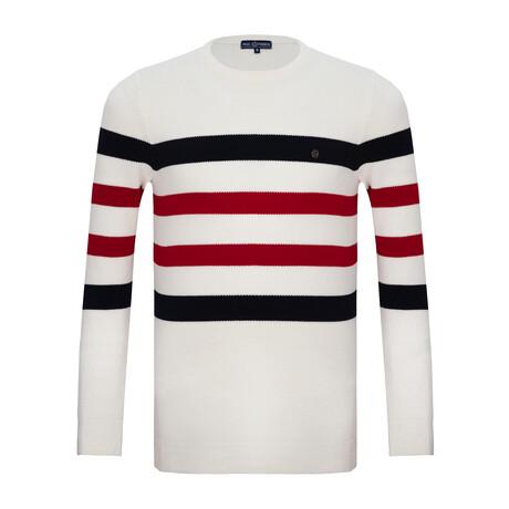 Colton Striped Sweater // Ecru (S)