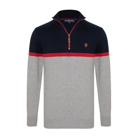 Jibraun Colorblock Half-Zip Sweater // Gray + Navy (S)