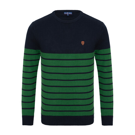 Marcus Striped Sweater // Navy + Green (S)