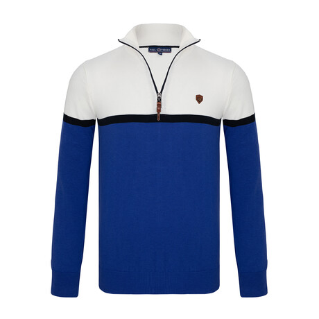 Alexander Colorblock Half-Zip Sweater // Sax + Ecru (S)