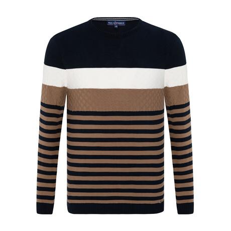 Darryl Striped Sweater // Navy + Mink (S)