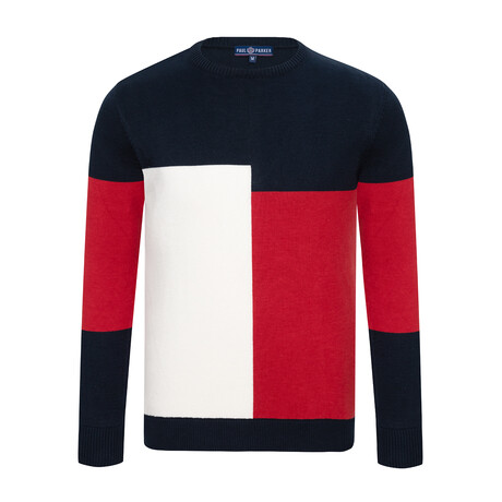 Tommy Colorblock Sweater // Navy + Ecru + Bordeaux (S)