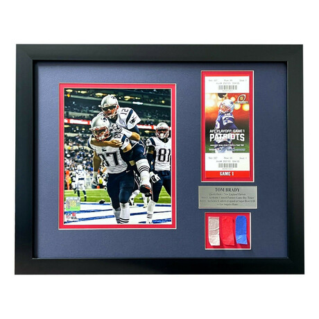 Tom Brady Patriots // Used Super Bowl 53 Authentic Game Confetti w/ Ticket Collage // Framed