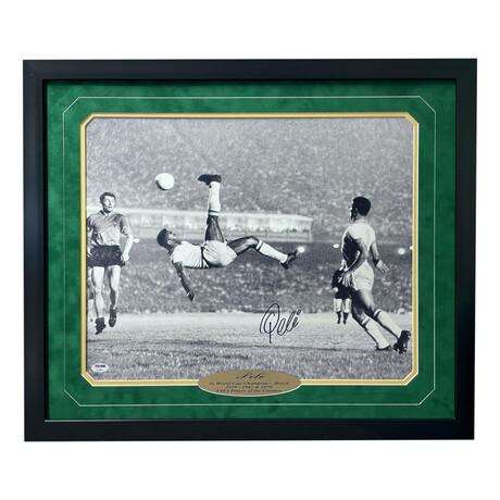 "Pelé // Signed ""Bicycle Kick"" 16x20 Photo // Framed"