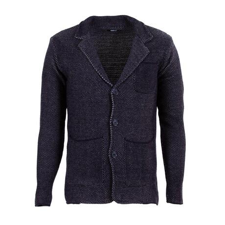 Andrew Knit Coat // Dark Blue, Gray (S)