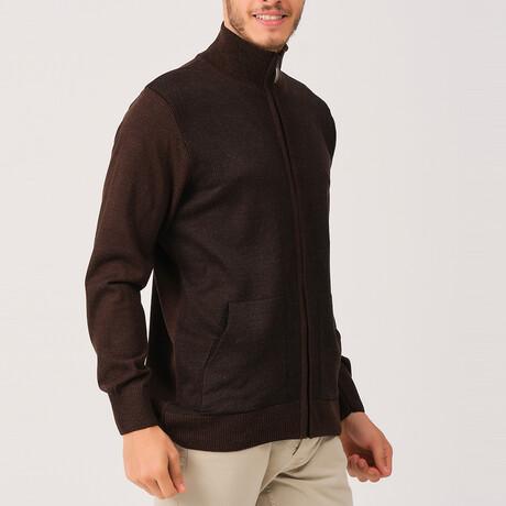 Ian Full Zip Sweater // Brown (Medium)