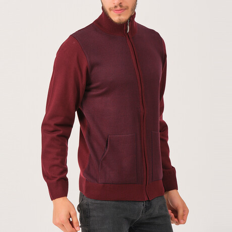 Ian Full Zip Sweater // Burgundy (Medium)