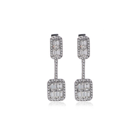 Roberto Coin 18k White Gold Diamond Earrings // Store Display
