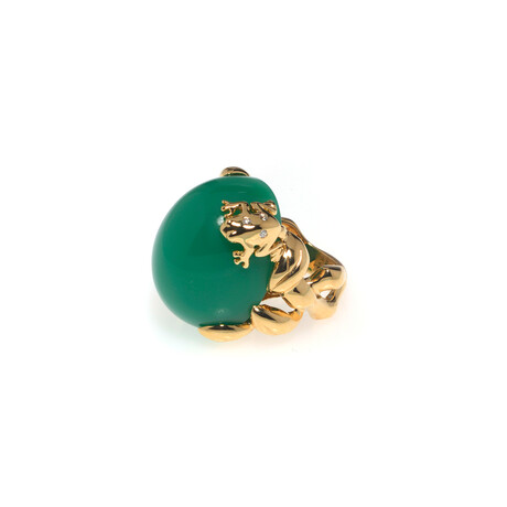 Dior 18k Yellow Gold Gourmande Grenouille Diamond + Chrysoprase Ring // Store Display (Ring Size: 4.75)