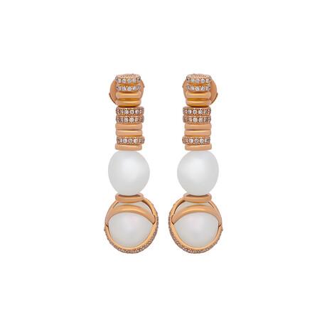 Fred Of Paris 18k Yellow Gold Diamond + Freshwater Pearl Baie De Anges Earrings // Store Display