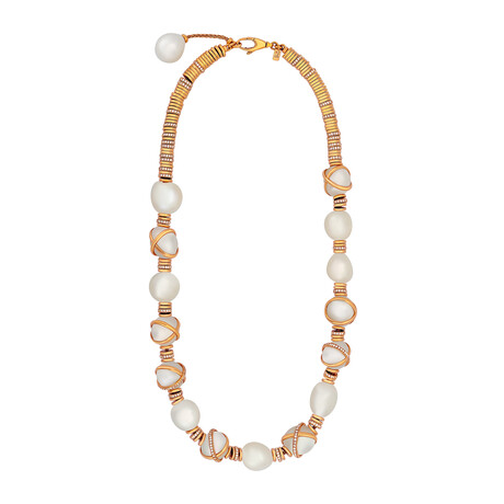 """Fred Of Paris 18k Gold Diamond + Pearl Baie De Anges Necklace I // 17"""" // Store Display"""