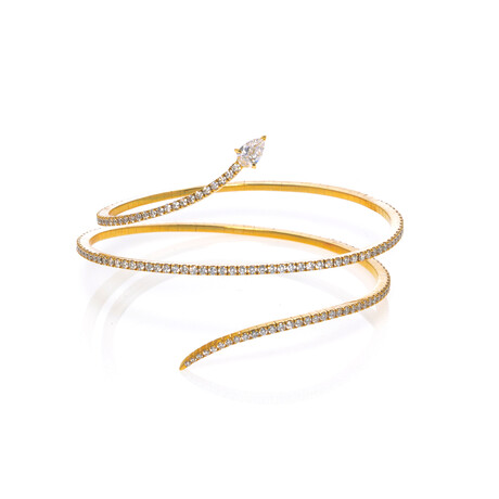 "Messika 18k Yellow Gold Snake Diamond Bracelet // 5.5"" // Store Display"