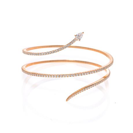 "Messika 18k Rose Gold Snake Diamond Bracelet // 5.5"" // Store Display"