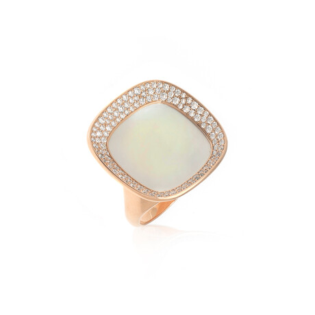 Roberto Coin 18k Rose Gold Carnaby St. Diamond + Mother Of Pearl Ring // Ring Size: 6.5 // Store Display