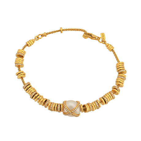 "Fred Of Paris 18k Gold Diamond + Pearl Baie Des Anges Bracelet // 7"" // Store Display"