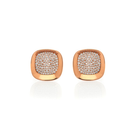 Roberto Coin 18k Rose Gold Carnaby St. Diamond Earrings // Store Display