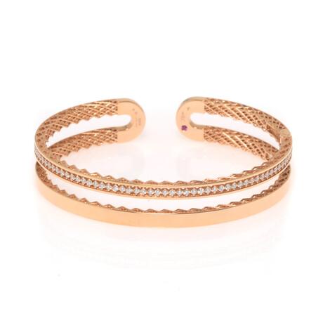 "Roberto Coin 18k Rose Gold Symphony Diamond Bracelet // 6.5"" // Store Display"