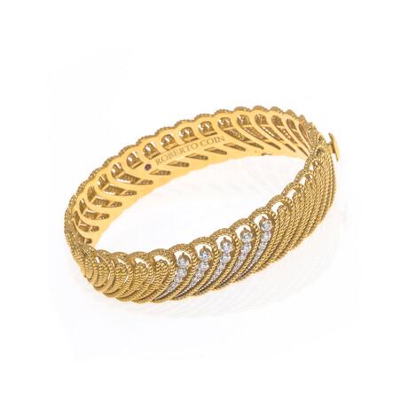 "Roberto Coin 18k Yellow Gold + 18k White Gold Byzantine Diamond Bracelet // 6.25"" // Store Display"