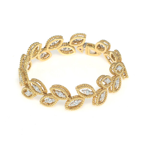 "Roberto Coin 18k Yellow Gold Petals Diamond Bracelet // 7"" // Store Display"