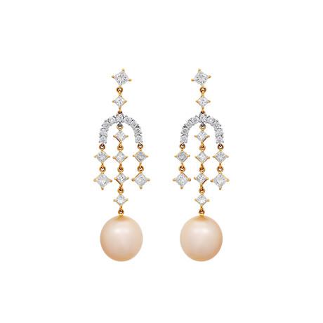 Assael 18k White + Yellow Gold Diamond + South Sea Pearl Earrings III // Store Display
