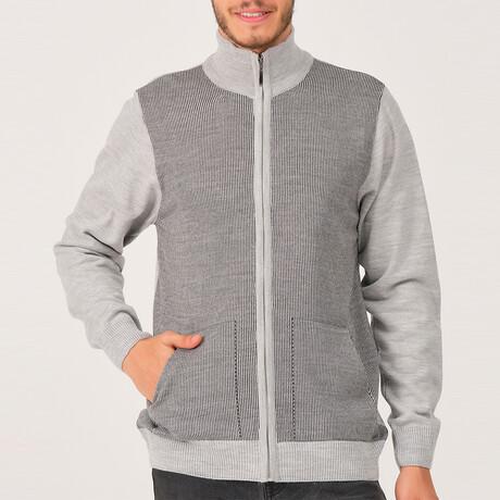Ian Full Zip Sweater // Light Gray (Medium)