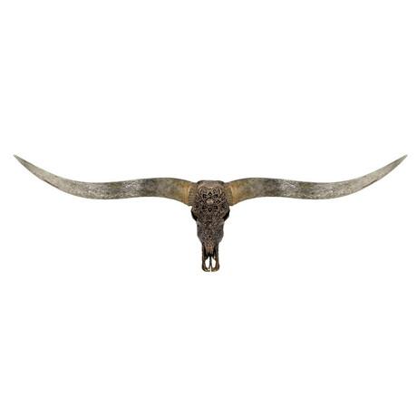 Carved Longhorn Skull // XL Horns // Antique Bronze Mandala // Metallic Finish V.1