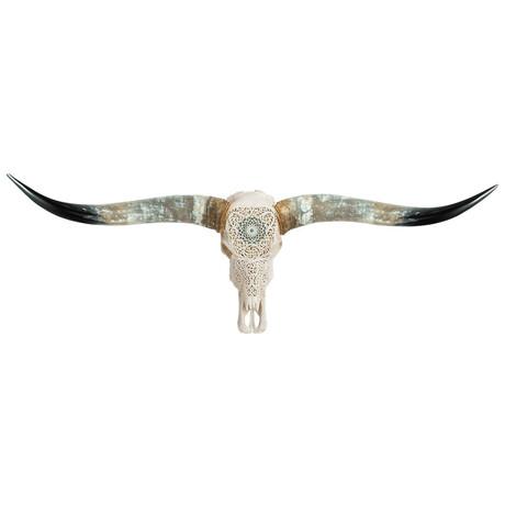 Carved Longhorn Skull // Turquoise Orbit