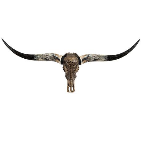 Carved Longhorn Skull // Celtic Spirit // Metallic Finish